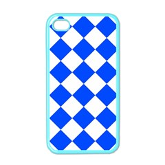 Blue White Diamonds Seamless Apple Iphone 4 Case (color) by Sapixe