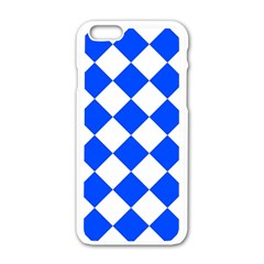 Blue White Diamonds Seamless Apple Iphone 6/6s White Enamel Case by Sapixe