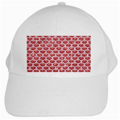 Scales3 White Marble & Red Glitter White Cap by trendistuff