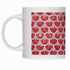 Scales3 White Marble & Red Glitter White Mugs by trendistuff