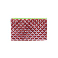 Scales3 White Marble & Red Glitter Cosmetic Bag (xs) by trendistuff