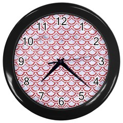 Scales2 White Marble & Red Glitter (r) Wall Clocks (black) by trendistuff