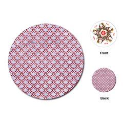 Scales2 White Marble & Red Glitter (r) Playing Cards (round)  by trendistuff