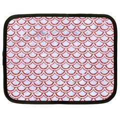 Scales2 White Marble & Red Glitter (r) Netbook Case (large) by trendistuff