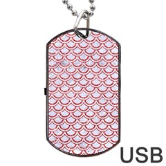 Scales2 White Marble & Red Glitter (r) Dog Tag Usb Flash (two Sides) by trendistuff