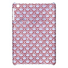 Scales2 White Marble & Red Glitter (r) Apple Ipad Mini Hardshell Case by trendistuff