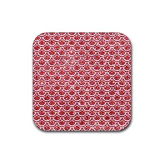 Scales2 White Marble & Red Glitter Rubber Square Coaster (4 Pack)  by trendistuff