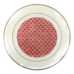 Scales2 White Marble & Red Glitter Porcelain Plates by trendistuff
