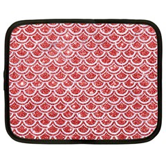 Scales2 White Marble & Red Glitter Netbook Case (large) by trendistuff