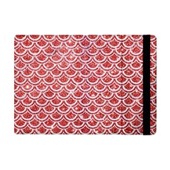 Scales2 White Marble & Red Glitter Apple Ipad Mini Flip Case by trendistuff