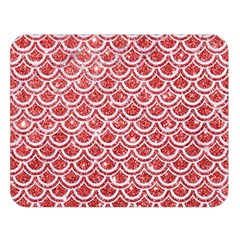 Scales2 White Marble & Red Glitter Double Sided Flano Blanket (large)  by trendistuff