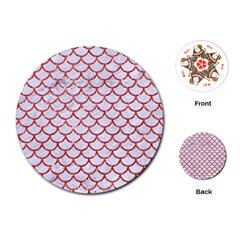 Scales1 White Marble & Red Glitter (r) Playing Cards (round)  by trendistuff