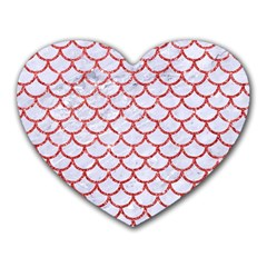 Scales1 White Marble & Red Glitter (r) Heart Mousepads