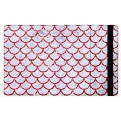 Scales1 White Marble & Red Glitter (r) Apple Ipad 2 Flip Case by trendistuff