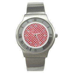 Scales1 White Marble & Red Glitter Stainless Steel Watch by trendistuff