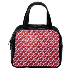 Scales1 White Marble & Red Glitter Classic Handbags (one Side)