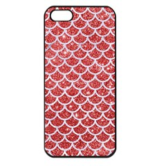 Scales1 White Marble & Red Glitter Apple Iphone 5 Seamless Case (black) by trendistuff