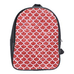Scales1 White Marble & Red Glitter School Bag (xl) by trendistuff