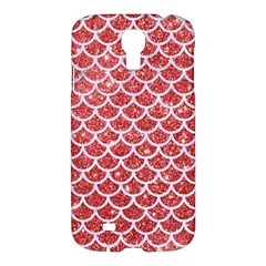 Scales1 White Marble & Red Glitter Samsung Galaxy S4 I9500/i9505 Hardshell Case by trendistuff