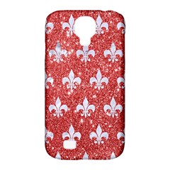 Royal1 White Marble & Red Glitter (r) Samsung Galaxy S4 Classic Hardshell Case (pc+silicone)