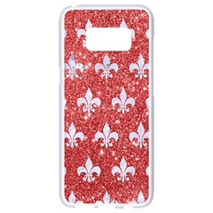 Royal1 White Marble & Red Glitter (r) Samsung Galaxy S8 White Seamless Case by trendistuff