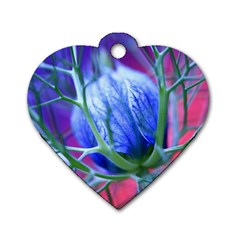 Blue Flowers With Thorns Dog Tag Heart (one Side)