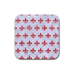 Royal1 White Marble & Red Glitter Rubber Square Coaster (4 Pack)  by trendistuff