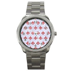 Royal1 White Marble & Red Glitter Sport Metal Watch by trendistuff