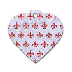 Royal1 White Marble & Red Glitter Dog Tag Heart (one Side) by trendistuff