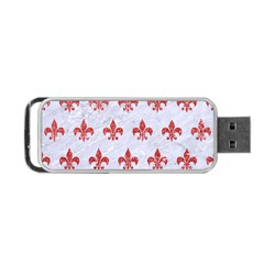 Royal1 White Marble & Red Glitter Portable Usb Flash (one Side) by trendistuff