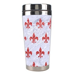 Royal1 White Marble & Red Glitter Stainless Steel Travel Tumblers by trendistuff