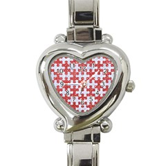 Puzzle1 White Marble & Red Glitter Heart Italian Charm Watch by trendistuff