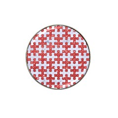 Puzzle1 White Marble & Red Glitter Hat Clip Ball Marker by trendistuff