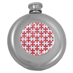 Puzzle1 White Marble & Red Glitter Round Hip Flask (5 Oz) by trendistuff
