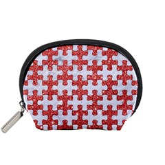 Puzzle1 White Marble & Red Glitter Accessory Pouches (small)  by trendistuff