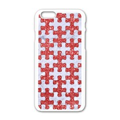 Puzzle1 White Marble & Red Glitter Apple Iphone 6/6s White Enamel Case by trendistuff