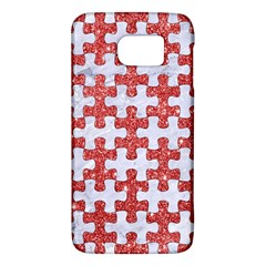 Puzzle1 White Marble & Red Glitter Galaxy S6 by trendistuff