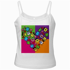 Cartoon Pattern White Spaghetti Tank