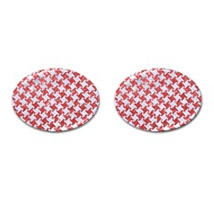 Houndstooth2 White Marble & Red Glitter Cufflinks (oval) by trendistuff