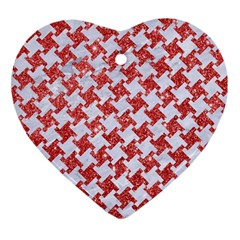 Houndstooth2 White Marble & Red Glitter Heart Ornament (two Sides) by trendistuff