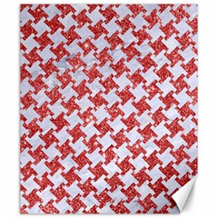 Houndstooth2 White Marble & Red Glitter Canvas 20  X 24   by trendistuff