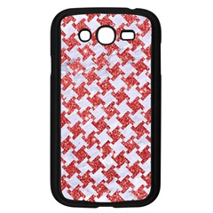 Houndstooth2 White Marble & Red Glitter Samsung Galaxy Grand Duos I9082 Case (black) by trendistuff