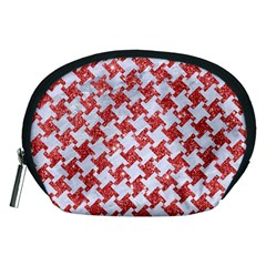 Houndstooth2 White Marble & Red Glitter Accessory Pouches (medium)  by trendistuff