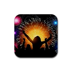 Celebration Night Sky With Fireworks In Various Colors Rubber Coaster (square)  by Sapixe