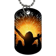 Celebration Night Sky With Fireworks In Various Colors Dog Tag (two Sides)