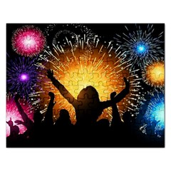 Celebration Night Sky With Fireworks In Various Colors Rectangular Jigsaw Puzzl by Sapixe