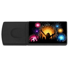 Celebration Night Sky With Fireworks In Various Colors Rectangular Usb Flash Drive by Sapixe