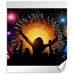 Celebration Night Sky With Fireworks In Various Colors Canvas 8  X 10  by Sapixe