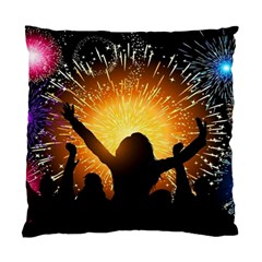 Celebration Night Sky With Fireworks In Various Colors Standard Cushion Case (one Side)