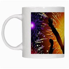 Celebration Night Sky With Fireworks In Various Colors White Mugs